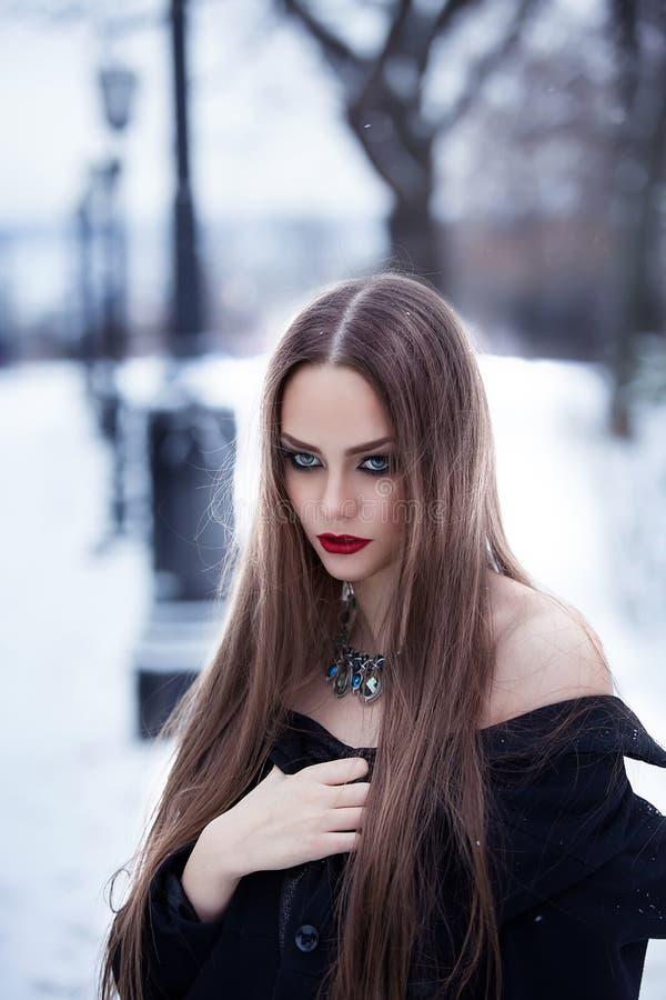 Muchacha hermosa en el paisaje del invierno fotos de archivo libres de regalías
