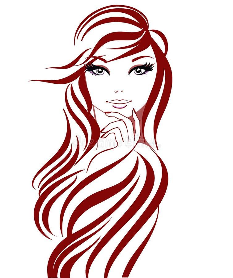 Muchacha hermosa en líneas ilustración del vector