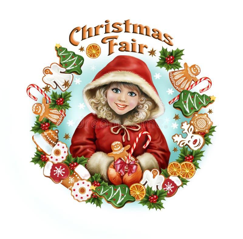 Muchacha hermosa en la feria de la Navidad ilustración del vector
