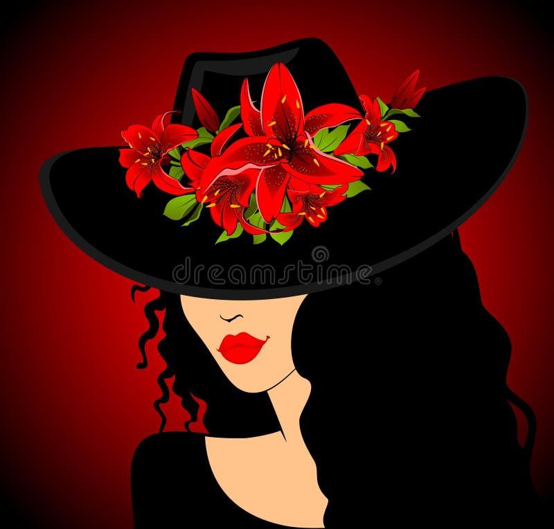 Muchacha hermosa en sombrero libre illustration