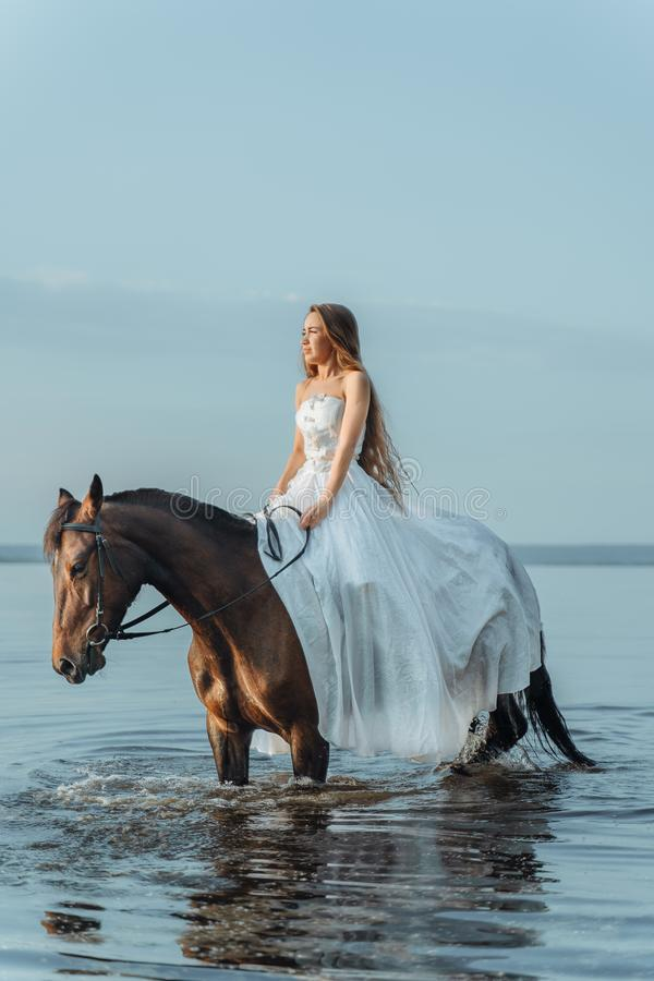 Muchacha hermosa en un vestido largo blanco que monta un caballo Novia en el lago a caballo fotos de archivo libres de regalías