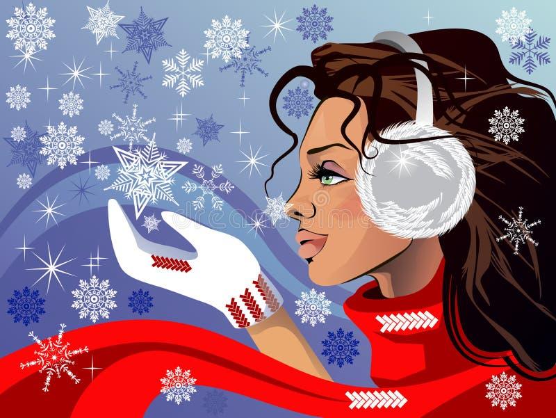 Muchacha hermosa en una bufanda roja stock de ilustración