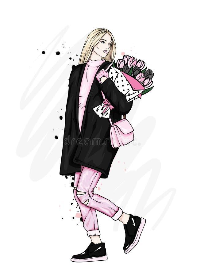 Muchacha hermosa en una capa elegante, vaqueros y zapatos Vector el ejemplo para una postal o un cartel Moda y estilo ilustración del vector