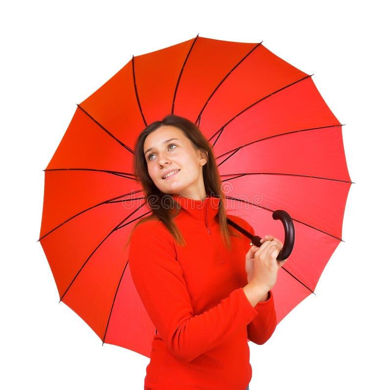 Muchacha hermosa joven con el paraguas fotografía de archivo libre de regalías