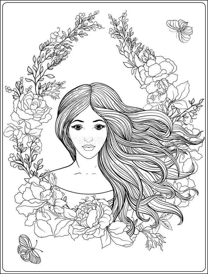 Muchacha hermosa joven con el pelo largo en palmadita floral adornada rica stock de ilustración
