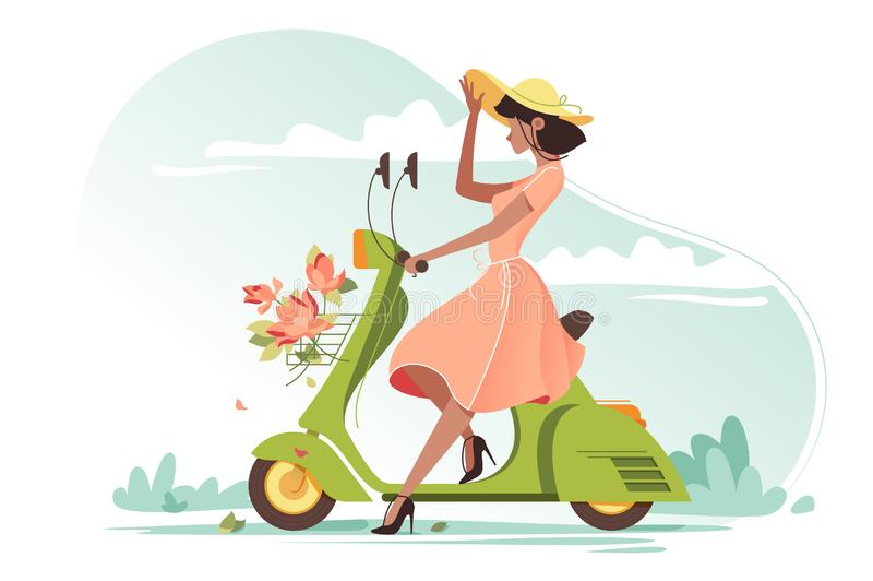 Muchacha hermosa joven con el vestido, las flores y el sombrero ligeros largos de las señoras en la vespa ilustración del vector