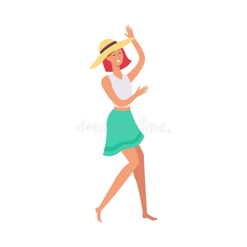 Muchacha hermosa joven del pelirrojo en danzas del sombrero, de la falda y de la camiseta en el partido de la playa stock de ilustración