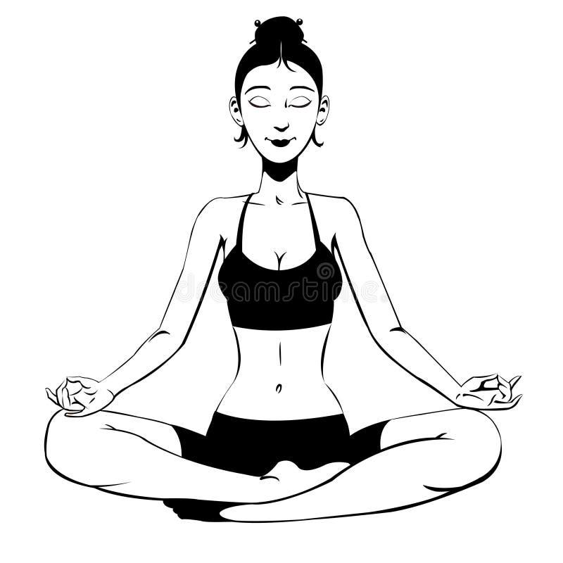 Muchacha hermosa meditating stock de ilustración