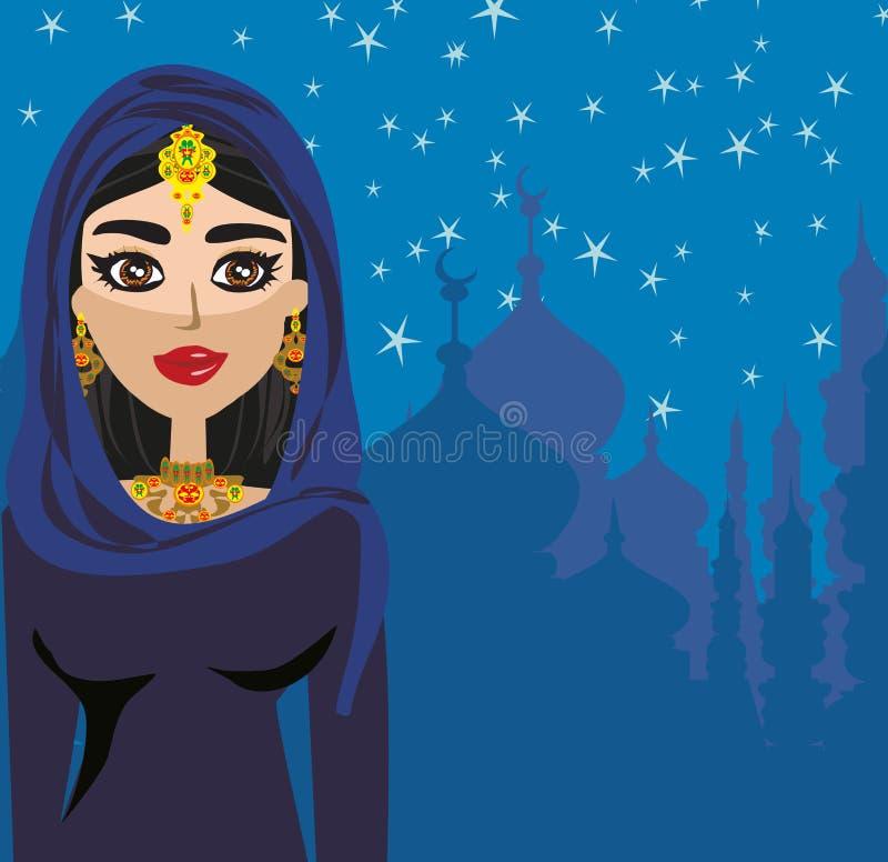 Muchacha hermosa musulmán en hijab ilustración del vector