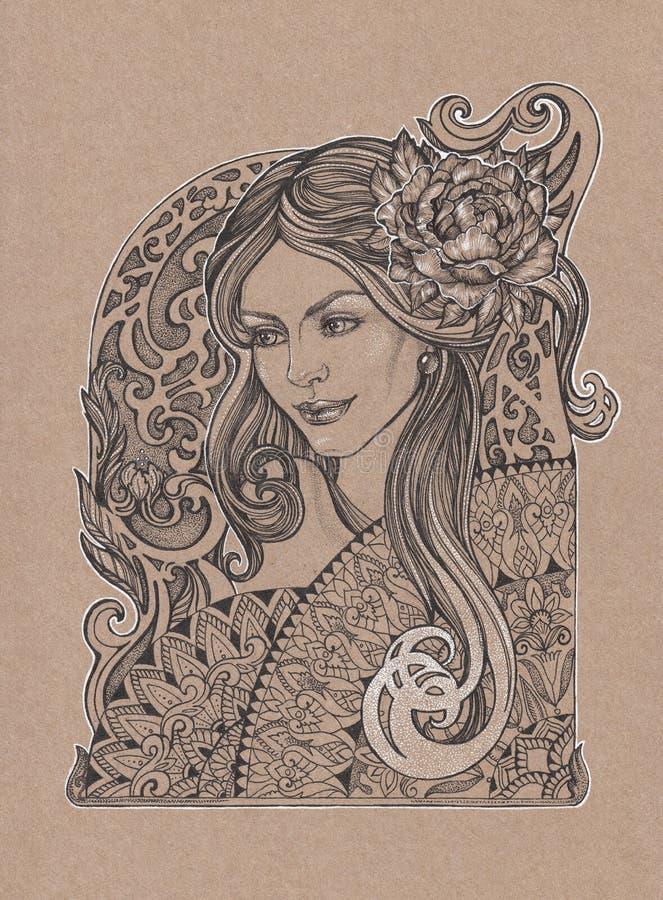 Muchacha hermosa pintada con la flor de la peonía en su pelo foto de archivo