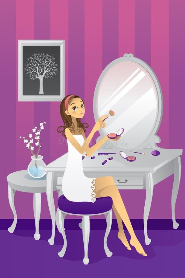 Muchacha hermosa que aplica maquillaje ilustración del vector