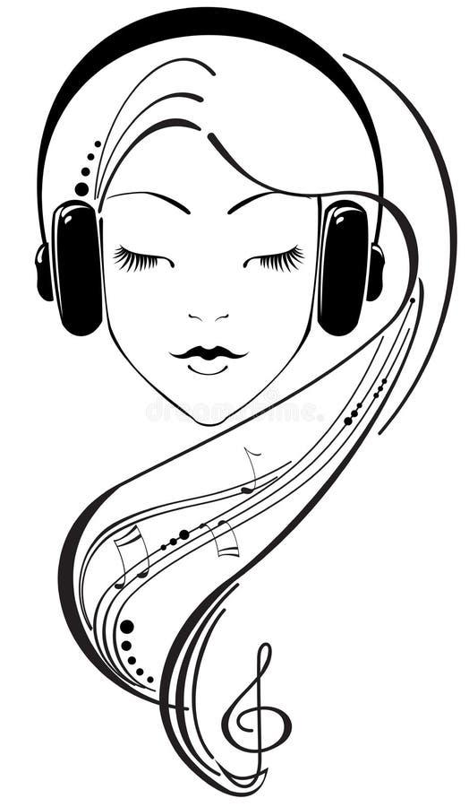 Muchacha hermosa que escucha los auriculares ilustración del vector