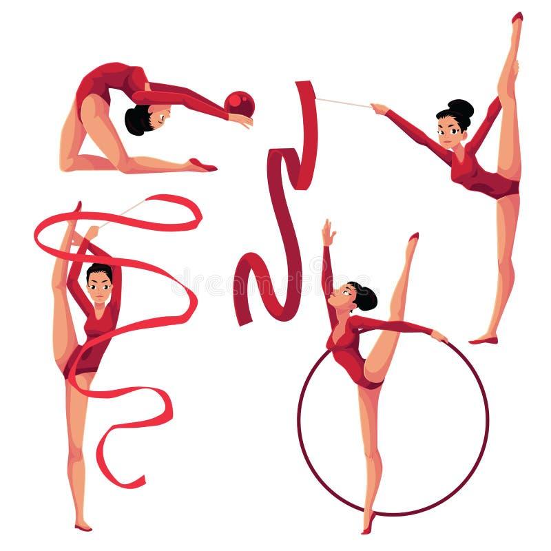 Muchacha hermosa que hace la gimnasia rítmica con la cinta, bola, aro ilustración del vector