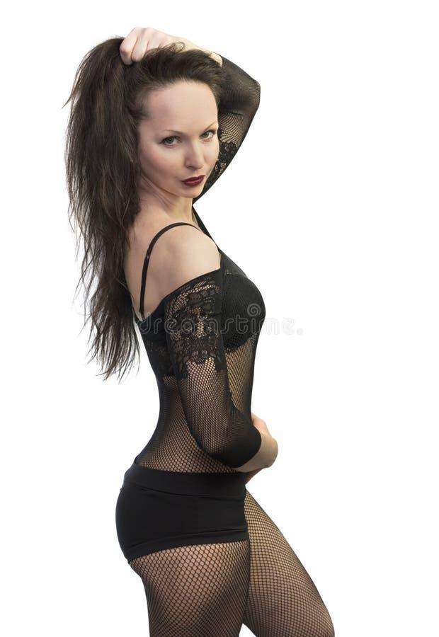 Muchacha hermosa que lleva la ropa interior negra imagen de archivo