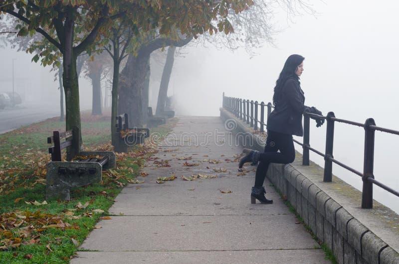 Muchacha hermosa que se coloca en la niebla de observación del otoño de la calzada peatonal fotos de archivo