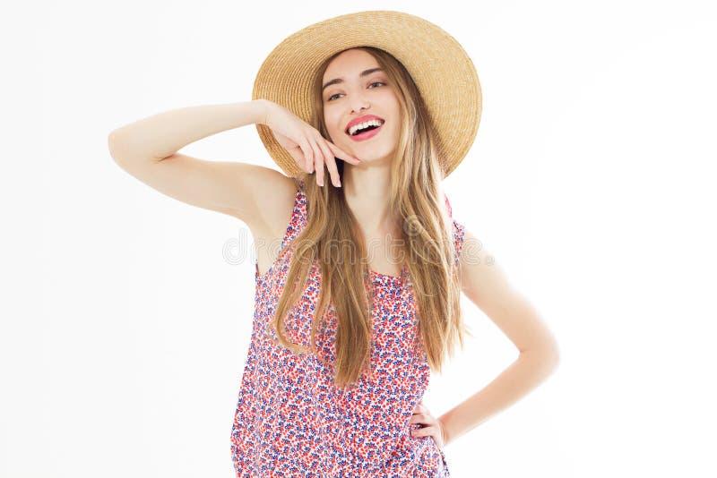 Muchacha hermosa sonriente del verano en retrato del estudio imagenes de archivo