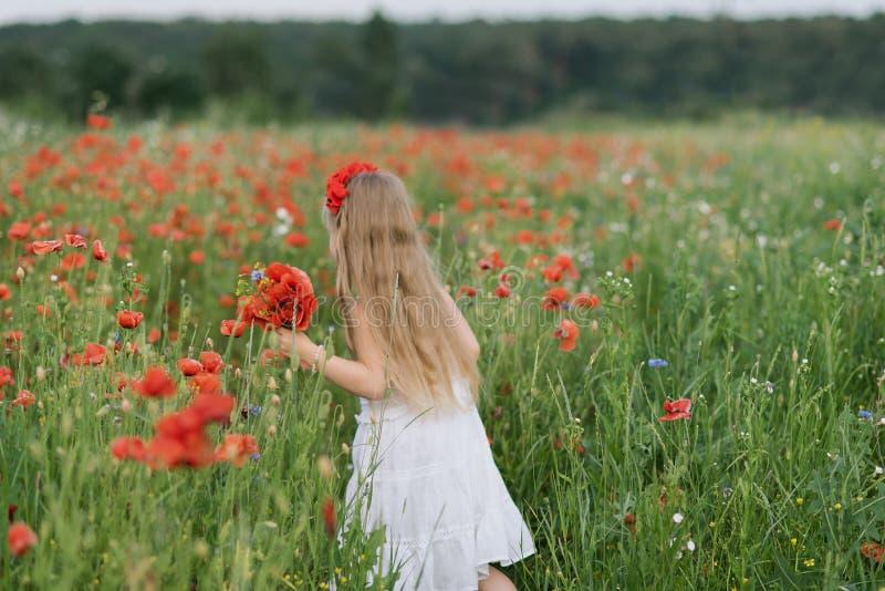Muchacha hermosa ucraniana en el campo de amapolas y del trigo retrato al aire libre en amapolas fotografía de archivo libre de regalías