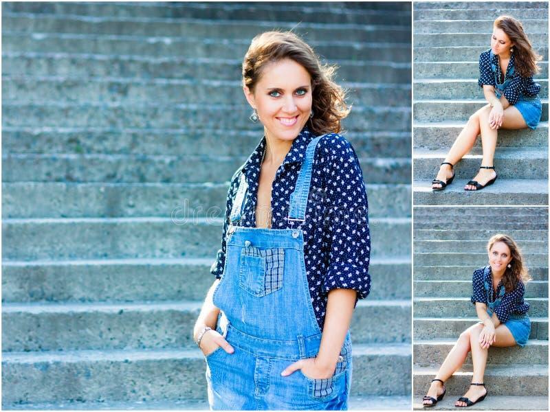 Muchacha hermosa vestida en guardapolvos azules Retrato exterior de pre foto de archivo
