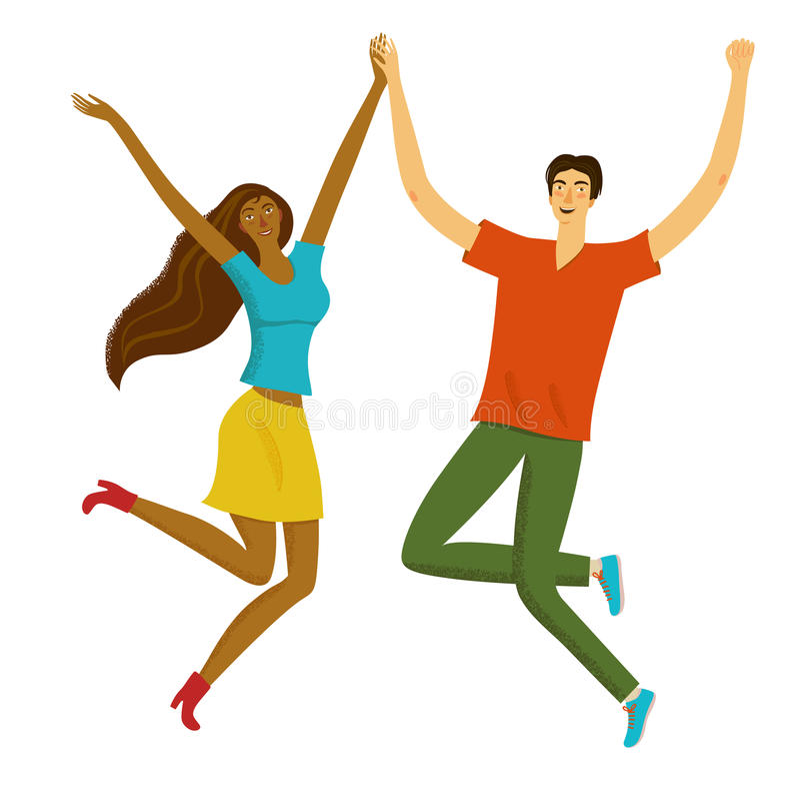 Muchacha hermosa y muchacho felices que saltan junto libre illustration