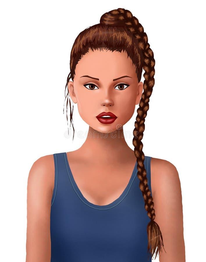 muchacha hermosa y pelo trenzado, lindos, retrato, muchacha, muchacha linda, pelo, estilo de pelo, cara bonita, estilo del peluqu ilustración del vector