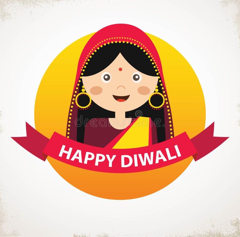 Muchacha india del vector que celebra Deepavali Diwali feliz libre illustration