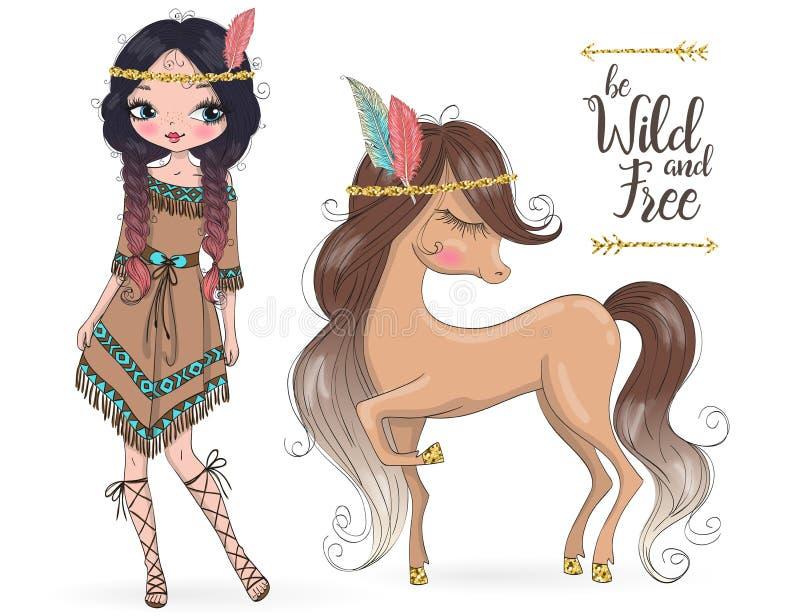 Muchacha india tribal linda hermosa exhausta de la mano con poco caballo libre illustration