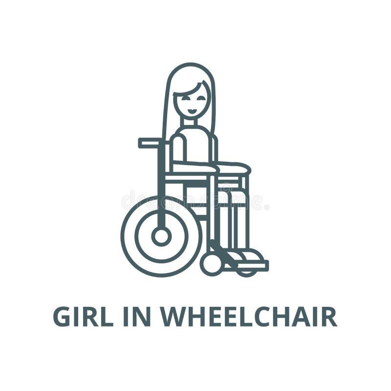 Muchacha inhabilitada en la línea icono, vector de la silla de ruedas Muchacha inhabilitada en la muestra del esquema de la sill libre illustration