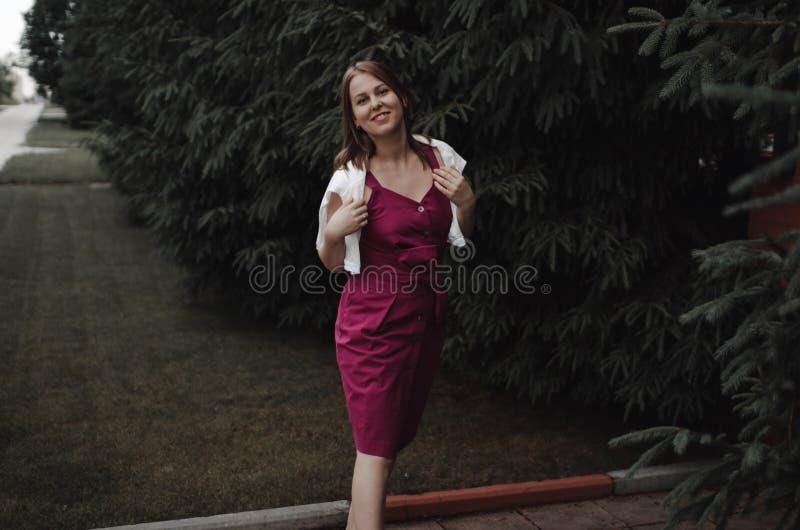 Muchacha interesante elegante en un vestido de Borgo?a contra una cerca de madera y un seto grueso de abetos Tener la diversi?n y foto de archivo libre de regalías
