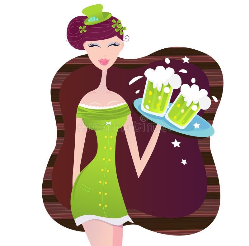 Muchacha irlandesa del día del St. Patrick con la cerveza verde ilustración del vector