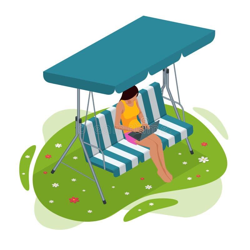 Muchacha isométrica con un ordenador portátil que se sienta en el oscilación del jardín Lugar para la reconstrucción al aire libr libre illustration