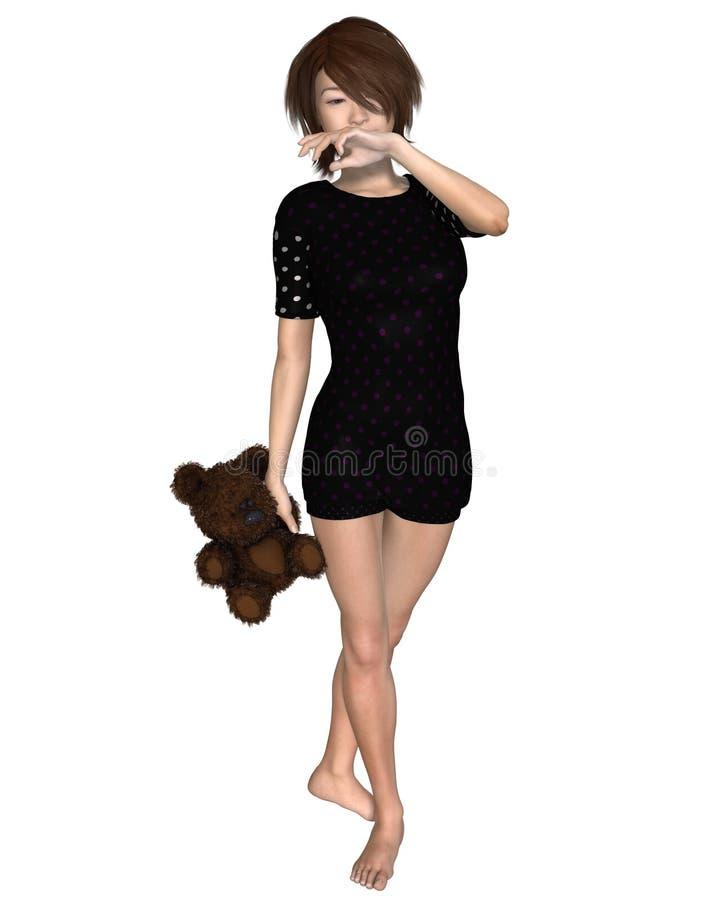 Muchacha japonesa con Teddy Bear libre illustration