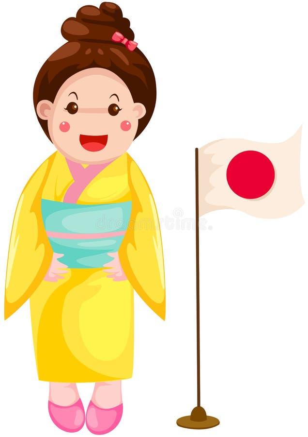 Muchacha japonesa linda en vestido tradicional stock de ilustración