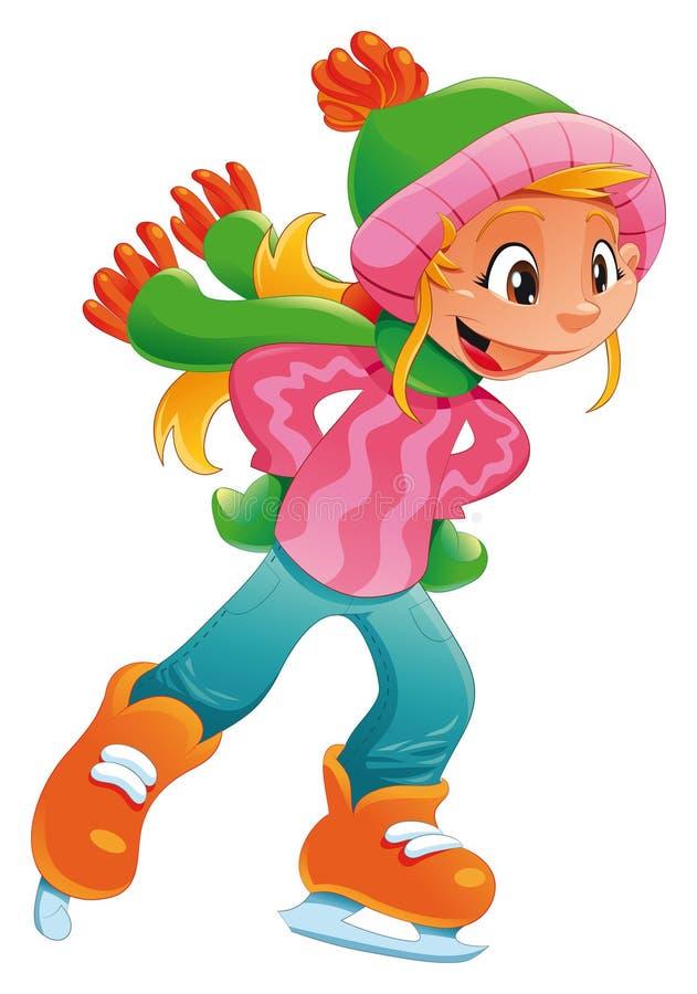 Muchacha joven del patinador de hielo. stock de ilustración