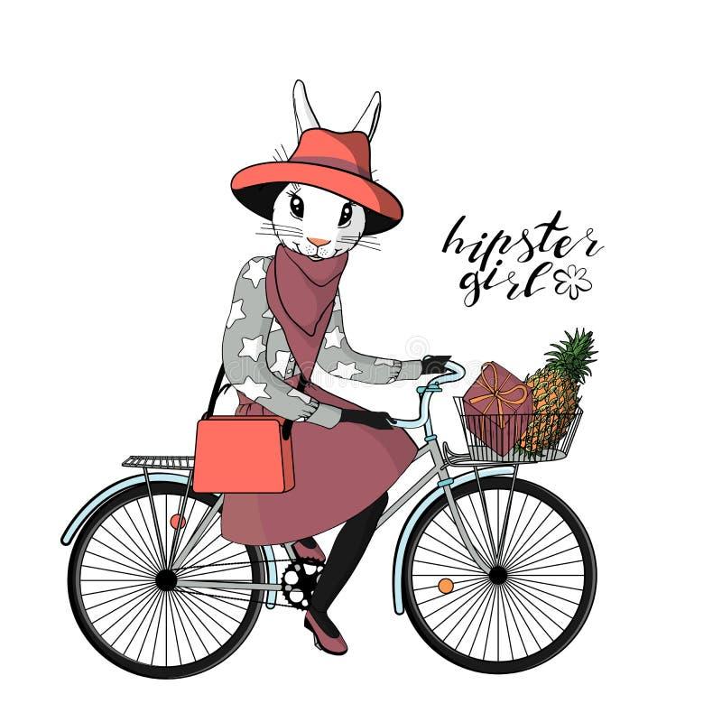 Muchacha joven hermosa del inconformista con una cabeza y una cola del conejito en bicicleta del vintage del equipo elegante del  ilustración del vector