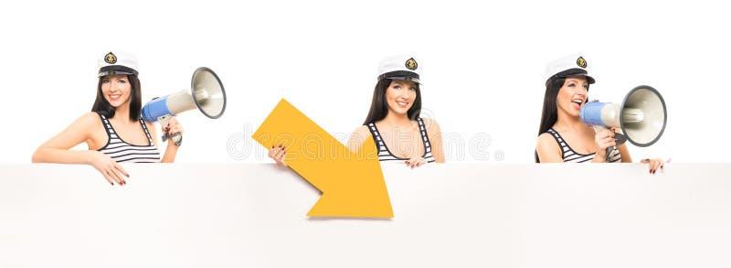 Muchacha joven, hermosa y atractiva del marinero fotos de archivo libres de regalías