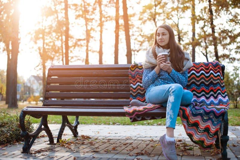 Muchacha joven y atractiva que se sienta en un banco en parque del oto?o y caf? de consumici?n imagen de archivo libre de regalías