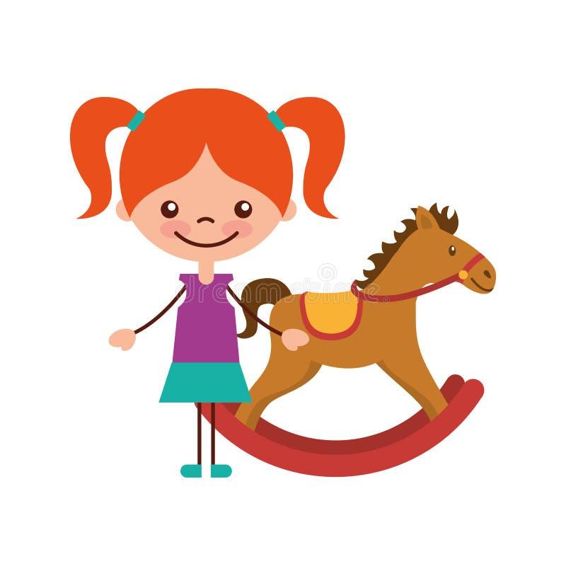 Muchacha linda con el icono de madera del carácter del caballo stock de ilustración