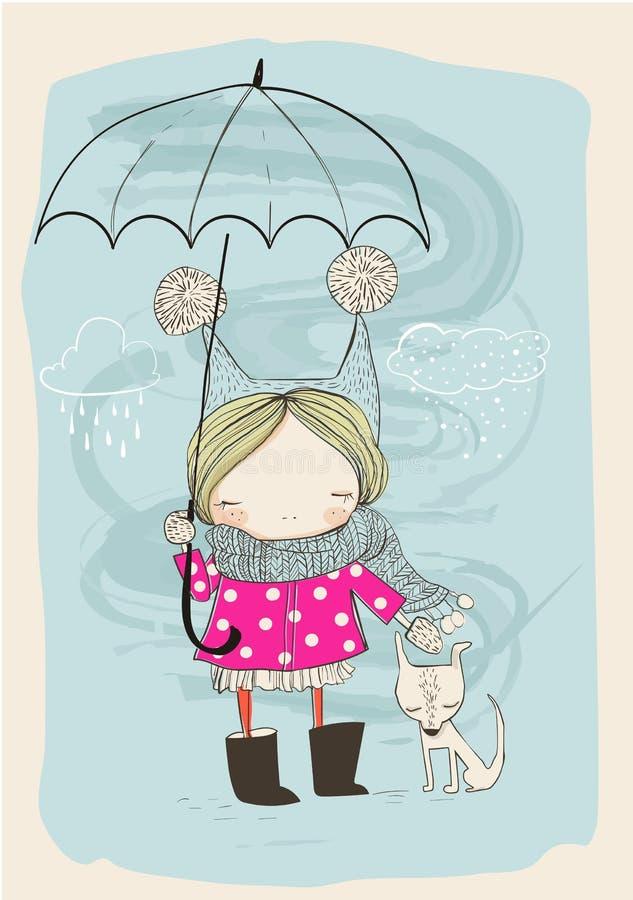 Muchacha linda con el perro y el paraguas ilustración del vector