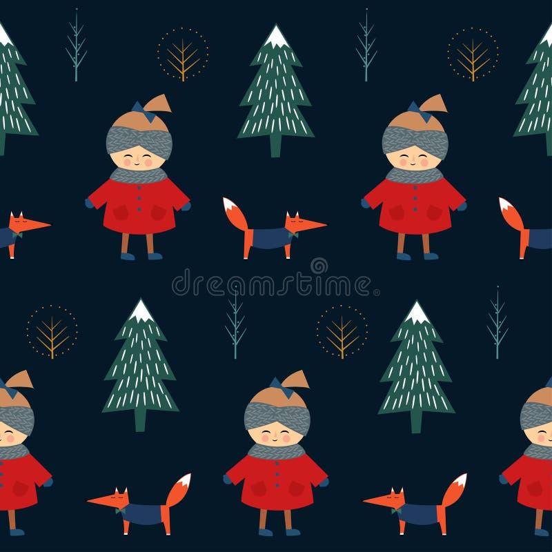 Muchacha linda con el zorro que camina en modelo inconsútil del bosque del invierno en fondo azul marino libre illustration