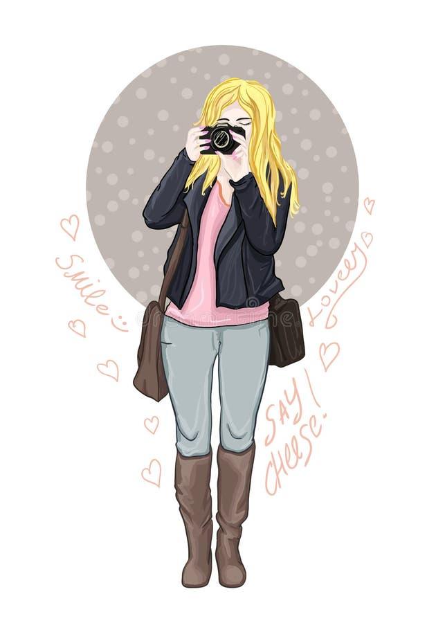 Muchacha linda con la cámara en sus manos Mujer de la moda con la cámara de la foto Ilustración del vector Fotógrafo o Adv del vi libre illustration