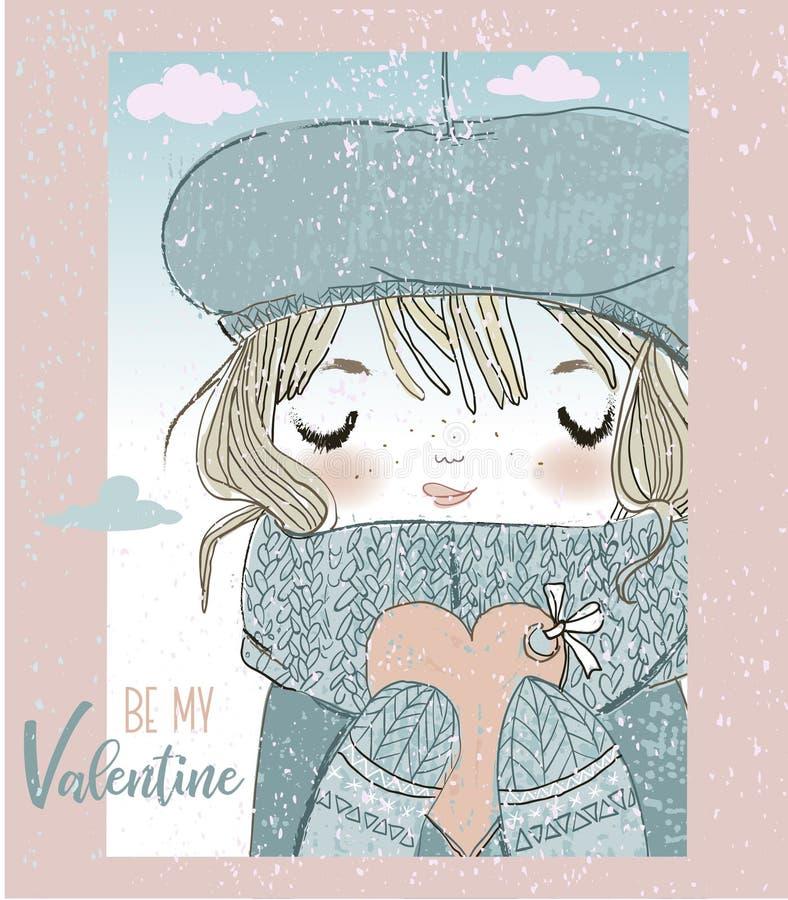 Muchacha linda con la tarjeta de las tarjetas del día de San Valentín libre illustration