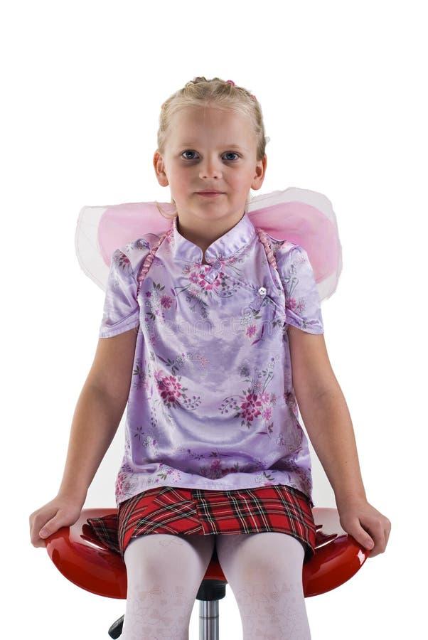 Muchacha linda con las alas de hadas imagenes de archivo
