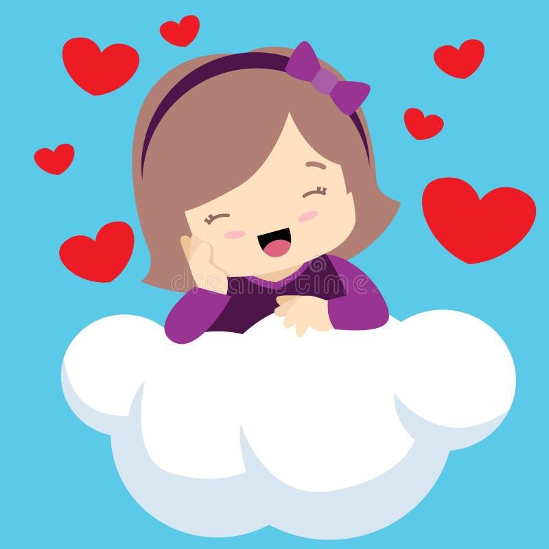 Muchacha linda con los ojos cerrados en tarjetas del día de San Valentín de la nube libre illustration