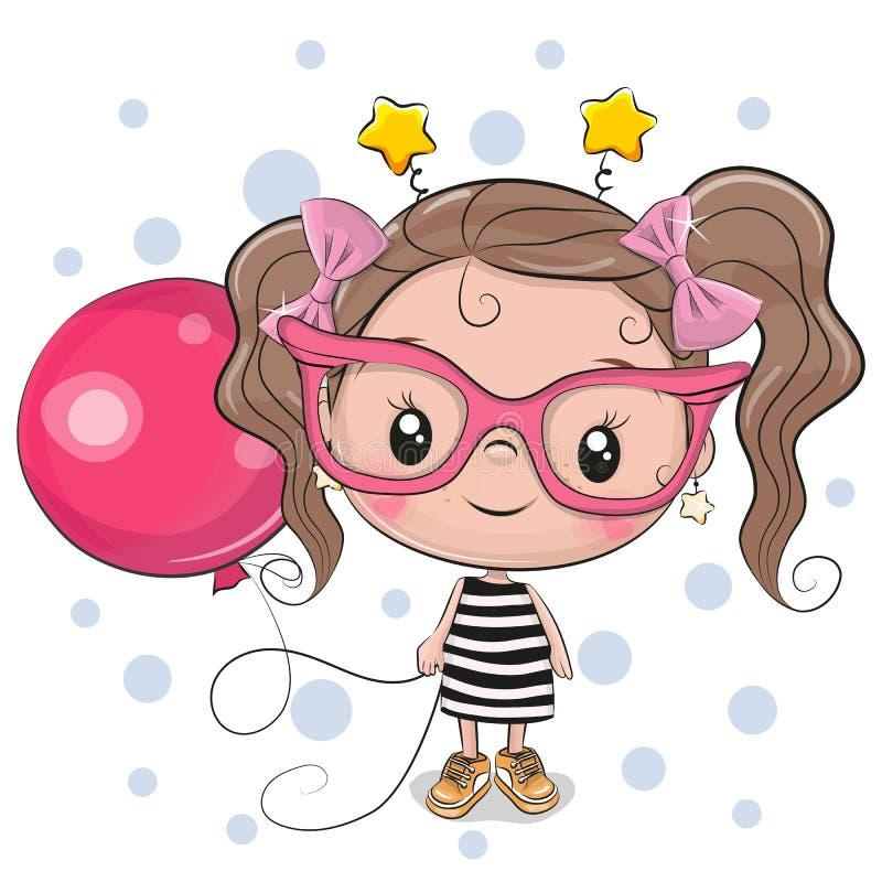 Muchacha linda con los vidrios rosados stock de ilustración