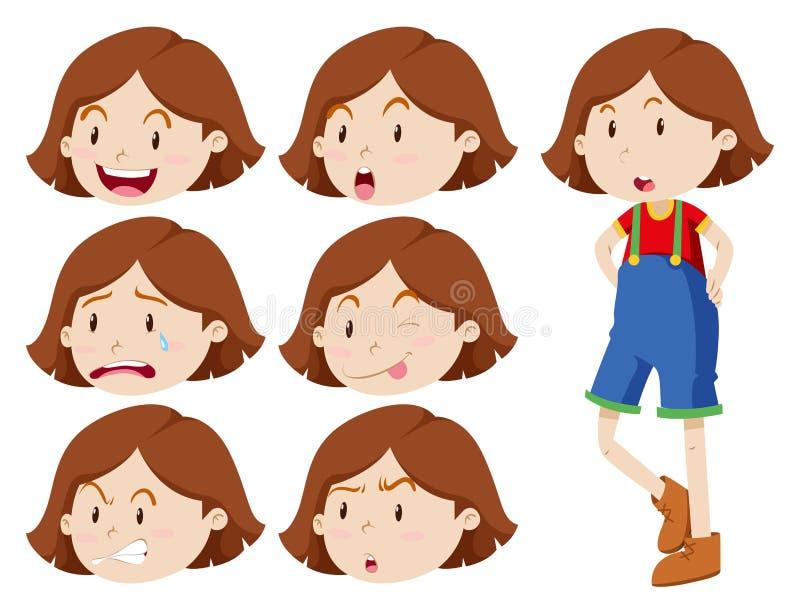 Muchacha linda con muchas expresiones libre illustration