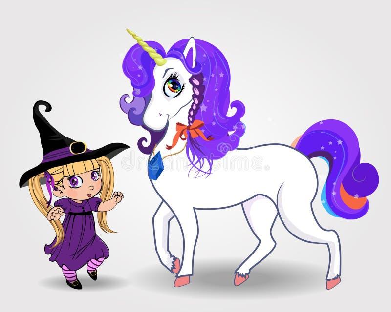 Muchacha linda de la bruja del bebé del vector así como unicornio mágico hermoso en el fondo blanco stock de ilustración