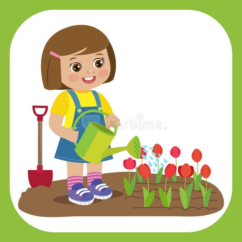 Muchacha linda de la historieta con el funcionamiento de la regadera en jardín Granjero joven Girl Watering Tulip Flowers libre illustration