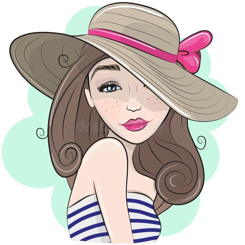 Muchacha linda de la historieta con el sombrero de paja ilustración del vector