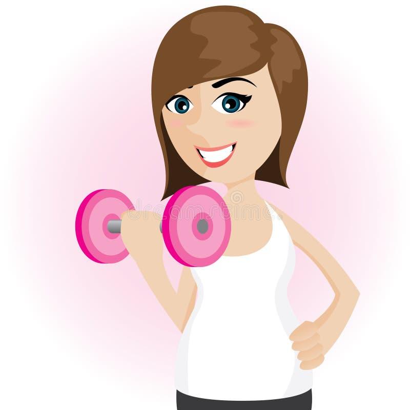 Muchacha linda de la historieta con pesa de gimnasia stock de ilustración