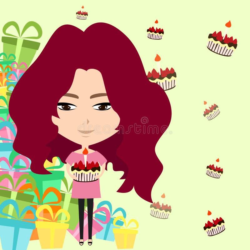 Muchacha linda de la historieta en el fondo de la fiesta de cumpleaños (VE stock de ilustración